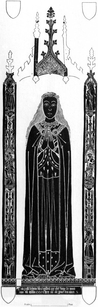 Rubbing of the brass of Joan, Lady Cromwell