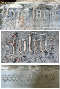 Photographs of lettering details