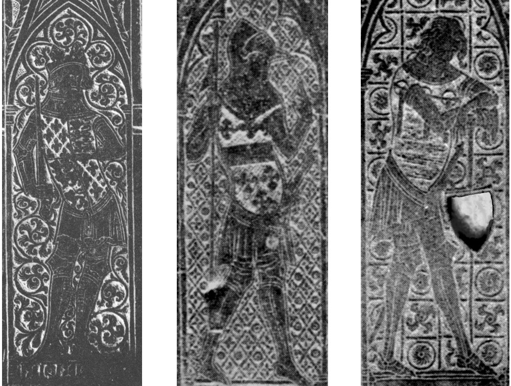 Photographs of the weepers on the right hand side of the main figure