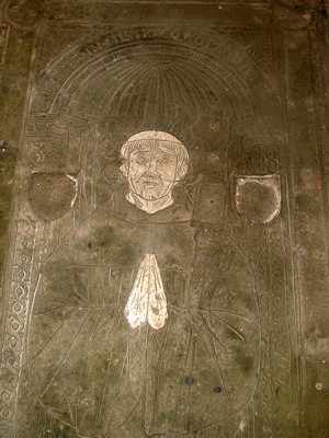 Photograph of slab at Clermont Abbey (53) to Abbot Yves Tronsson (1506)