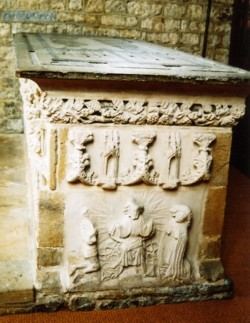 Photograph of the end of the tomb at Ilminster