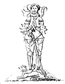 Antiquarian drawing of the effigy of Edward Grymston