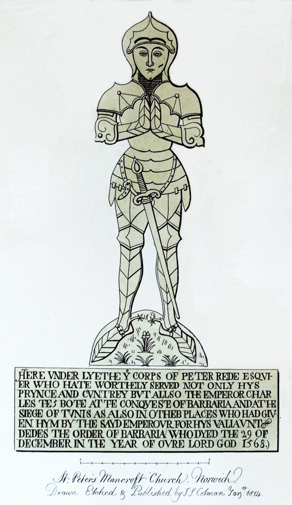 Engraving of the brass of Peter Rede by Cotman