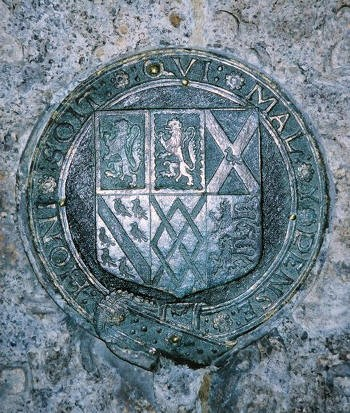 Photograph of the garter shield on the Talbot monument