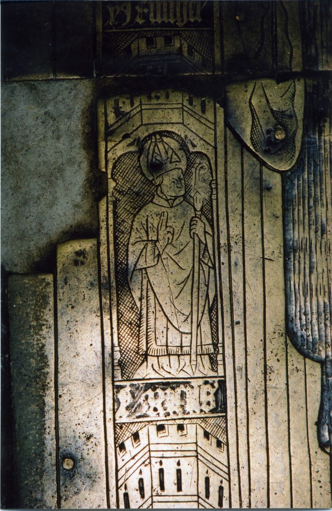 Photograph of detail of the brass showing St Richard