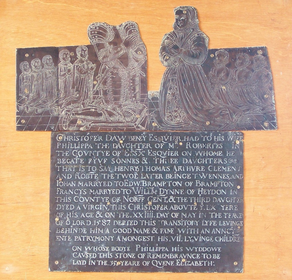 Photograph of brass of Christopher Daubeney and family
