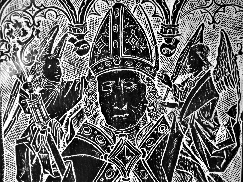 Rubbing of upper part of the brass of Abbot Heribert von Llsdorf