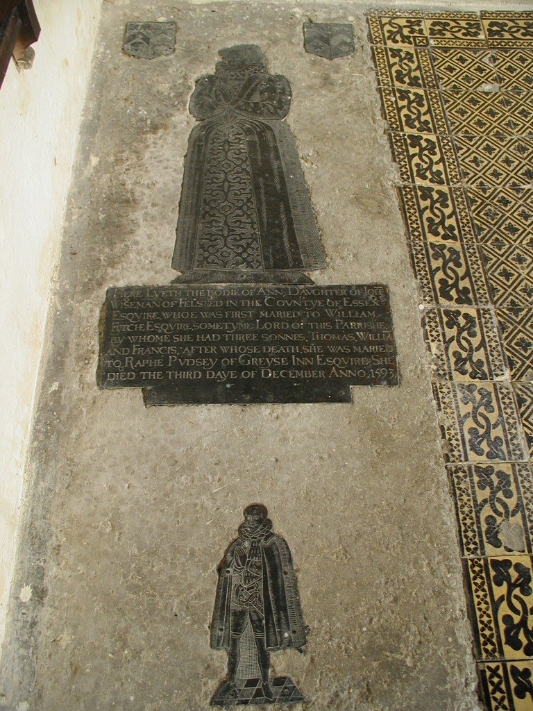 Photograph of the brass of Ann Pudsey and son