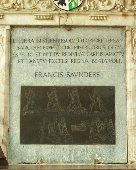 Photograph of the panel with the brass and inscription
